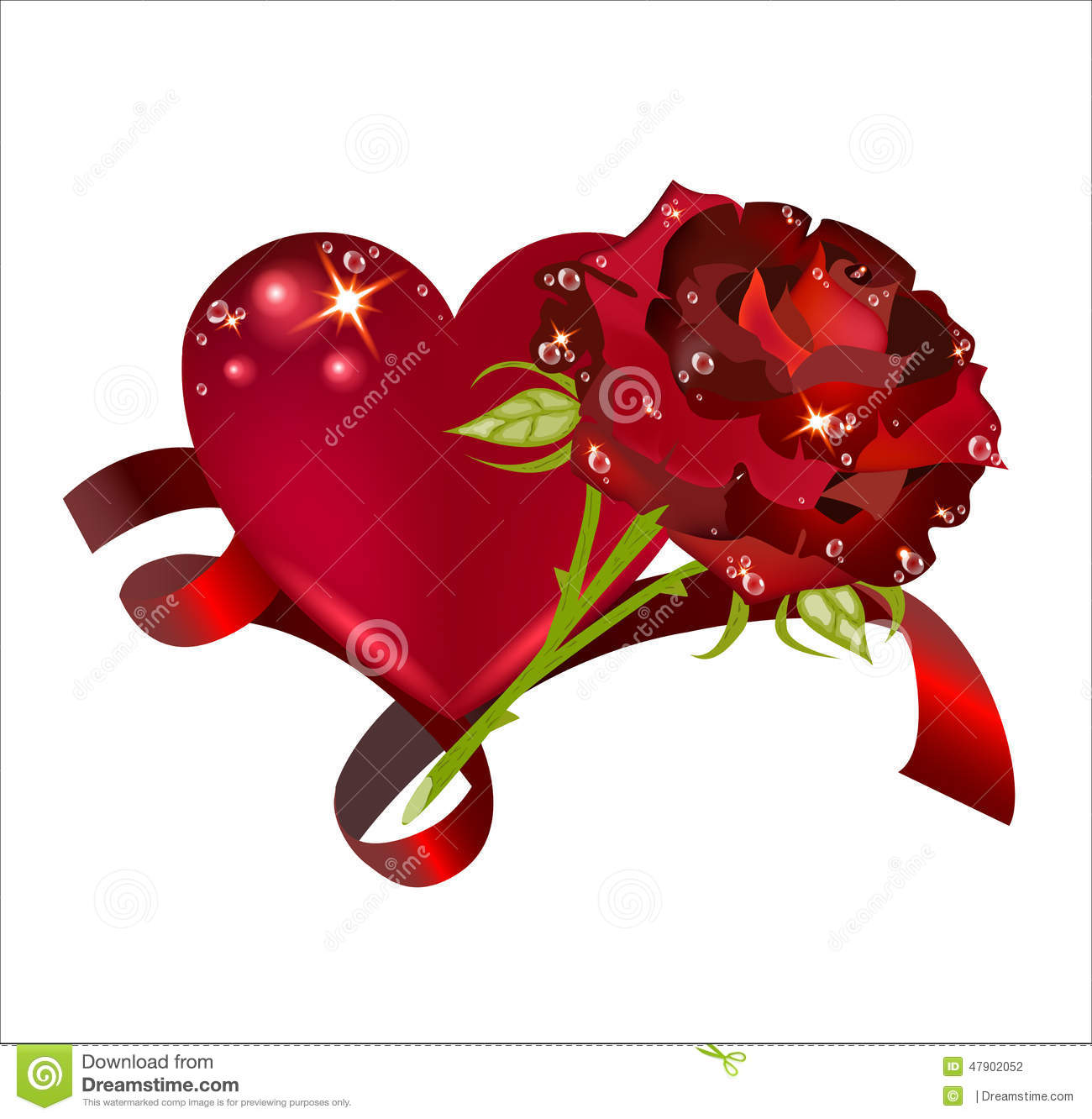Beautiful Heart With A Rose Interlaced With A Red Ribbon