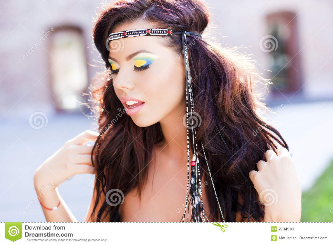 Beautiful Hippie Woman Smiling Natural Royalty Free Stock
