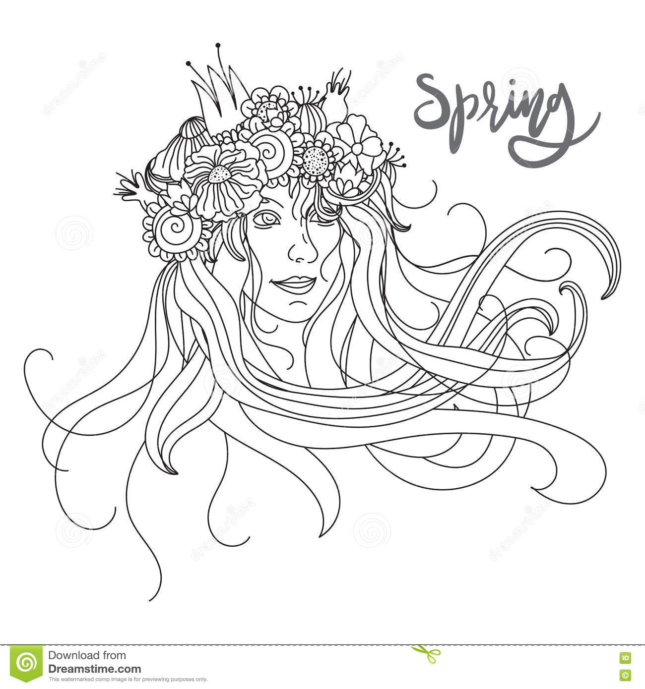 Beautiful Illustration Of Girl And Flowers On A Background