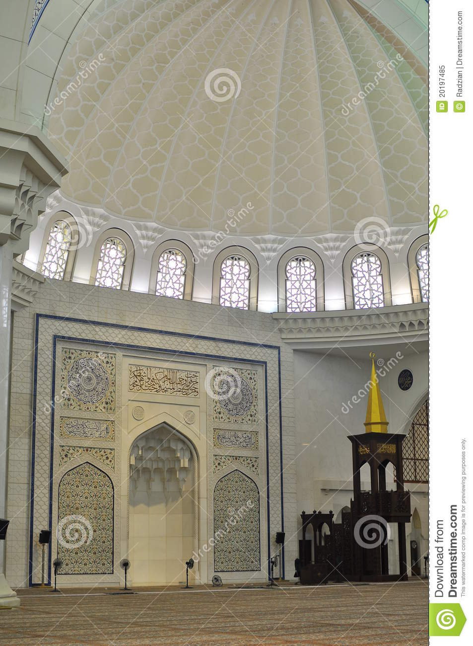 The Beautiful Interior Design Of Wilayah Mosque Stock