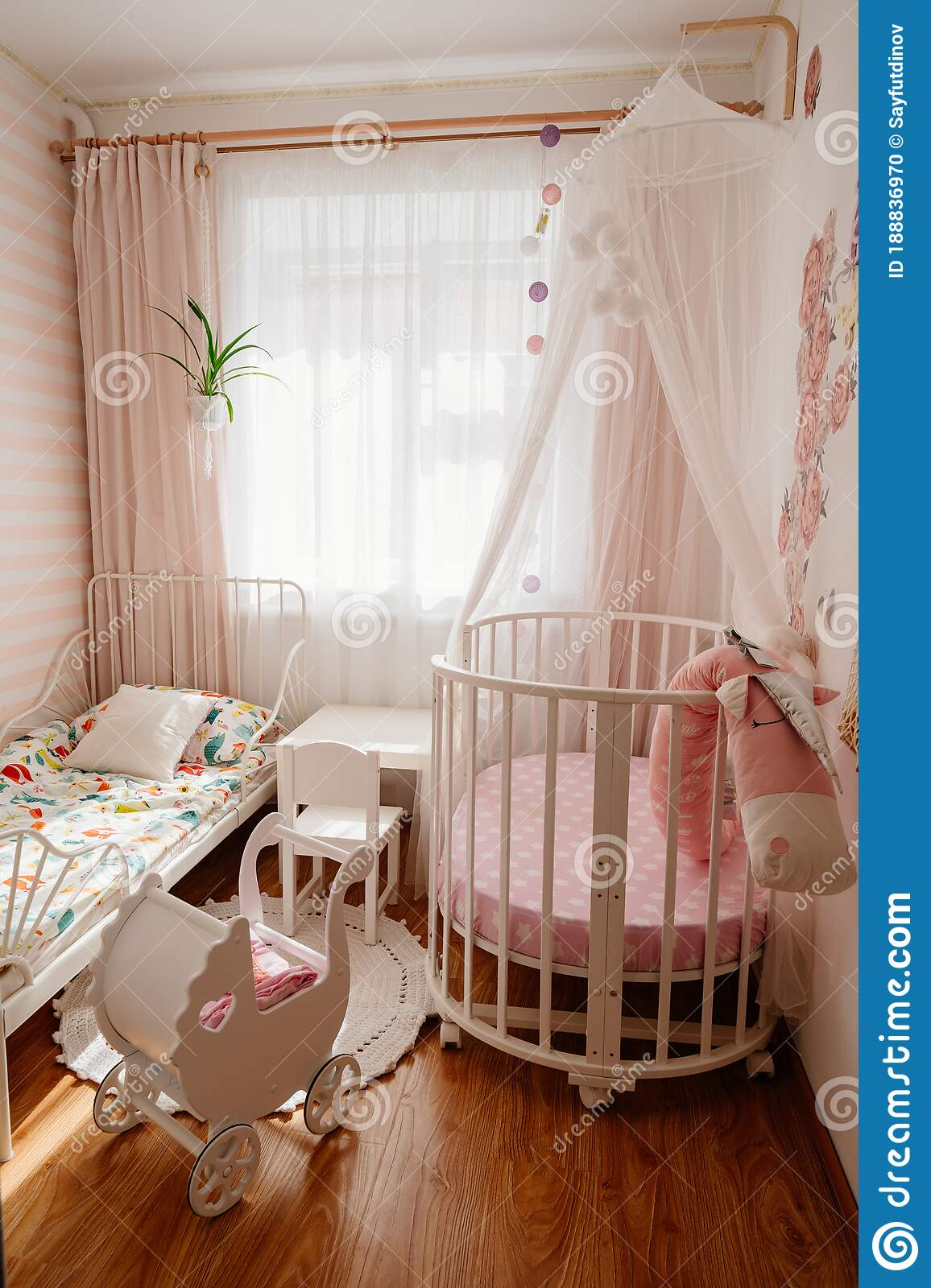 Beautiful Little Cosy White Kids Room With Two Beds For Girls Kids Stock Photo Image Of Kids Building 188836970