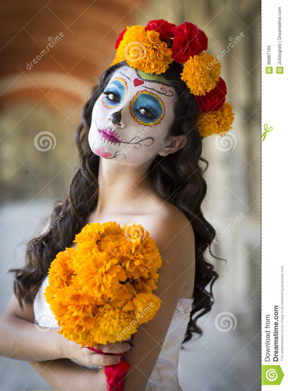 Beautiful Mexican Woman With Wedding Dress And Makeup