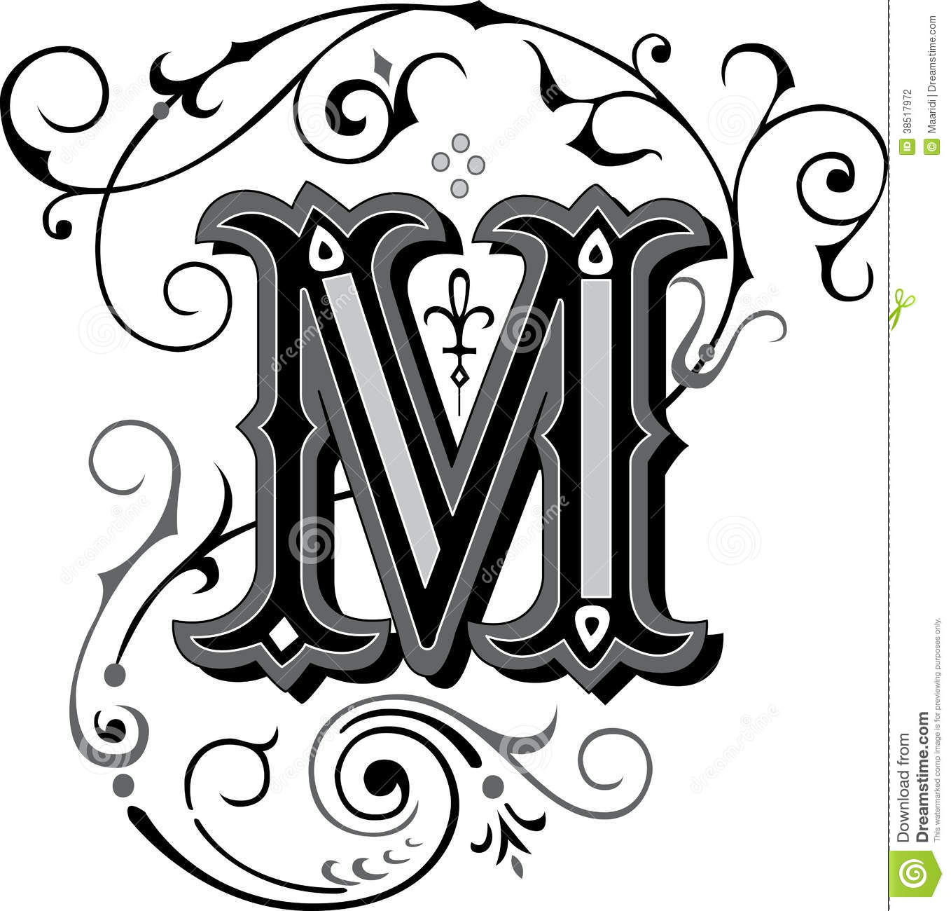 Beautiful Ornament Letter M Stock Vector