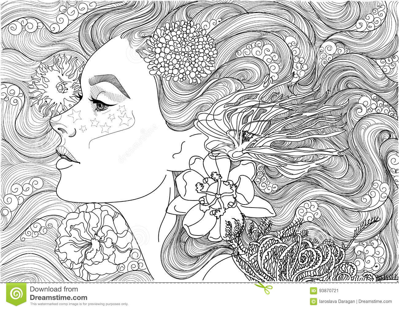 Beautiful Sea Goddess Stock Vector Illustration Of