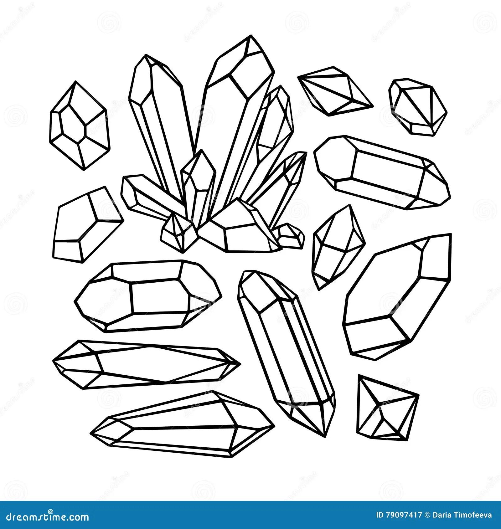 Beautiful Set Of Sketch Crystals Stock Vector