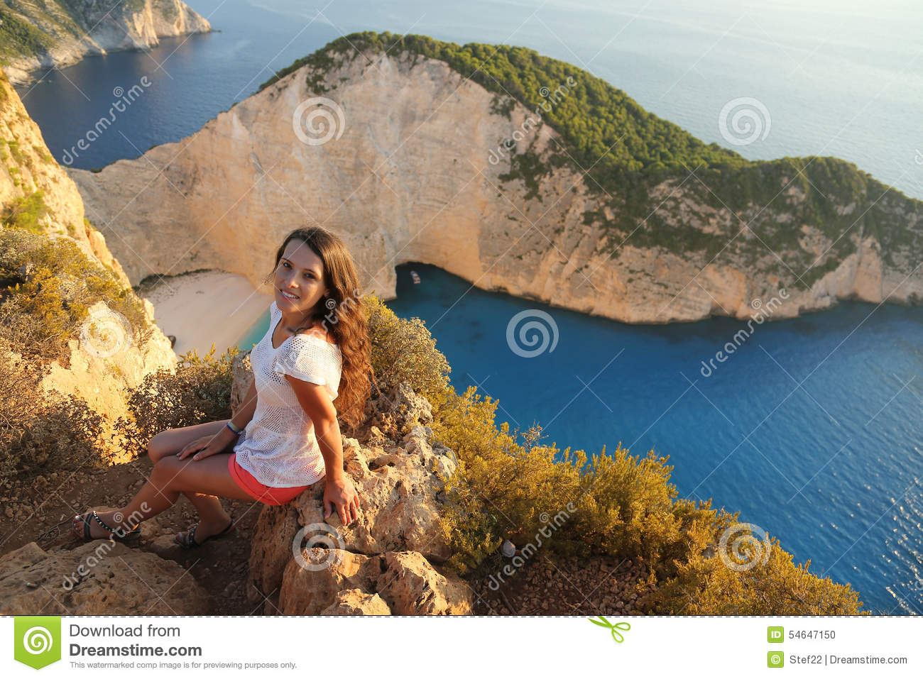 Beautiful Tourist At Navagio Beach Zakynthos Island
