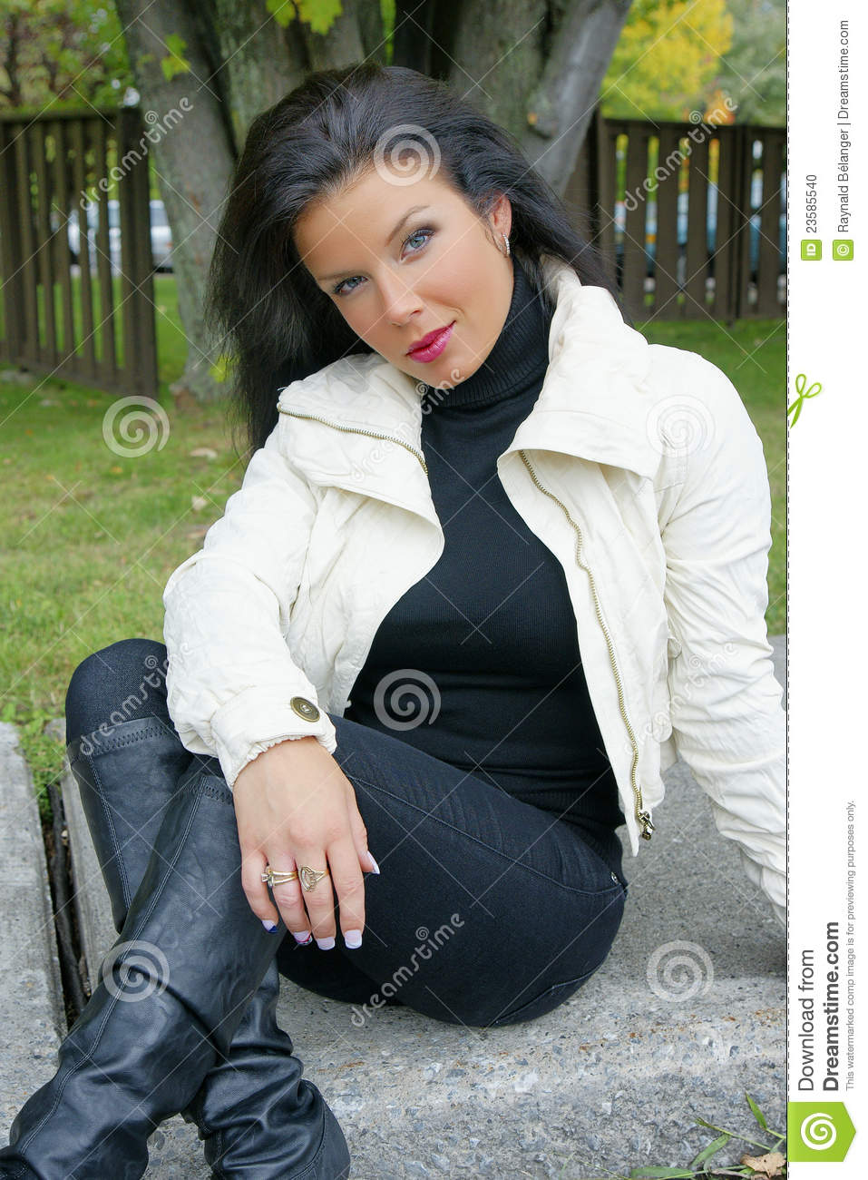 Beautiful Woman With Black Shiny Hair In Model Pos Stock