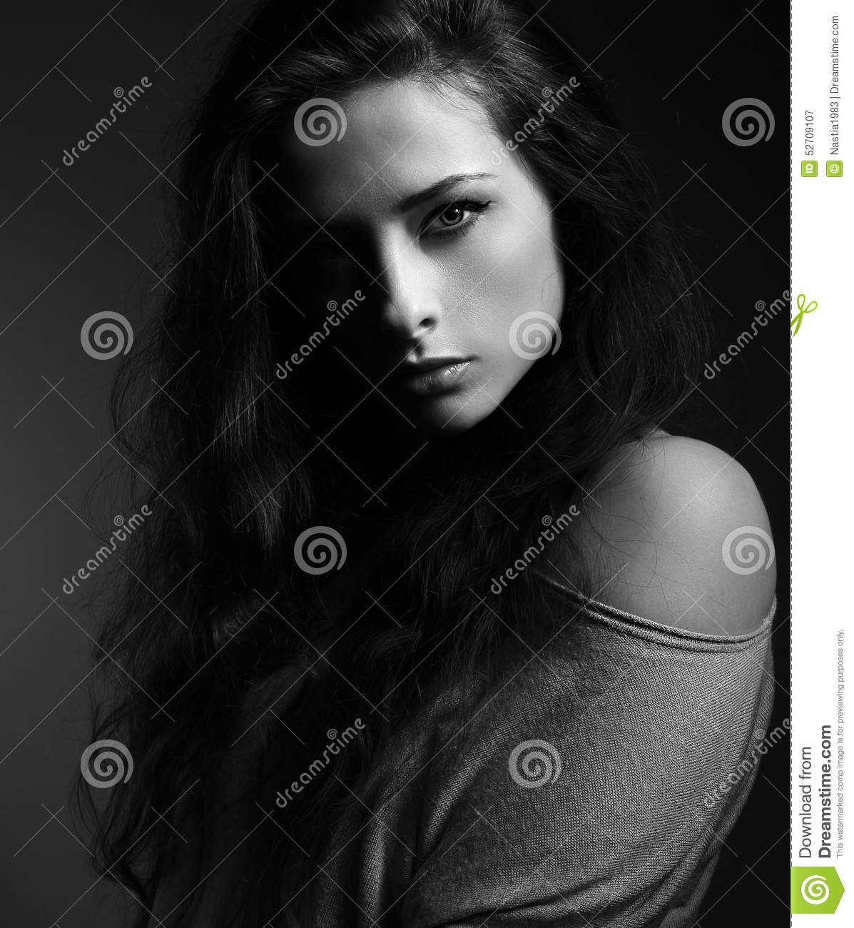 Beautiful Woman With Long Hair Shadow On Half Face Black