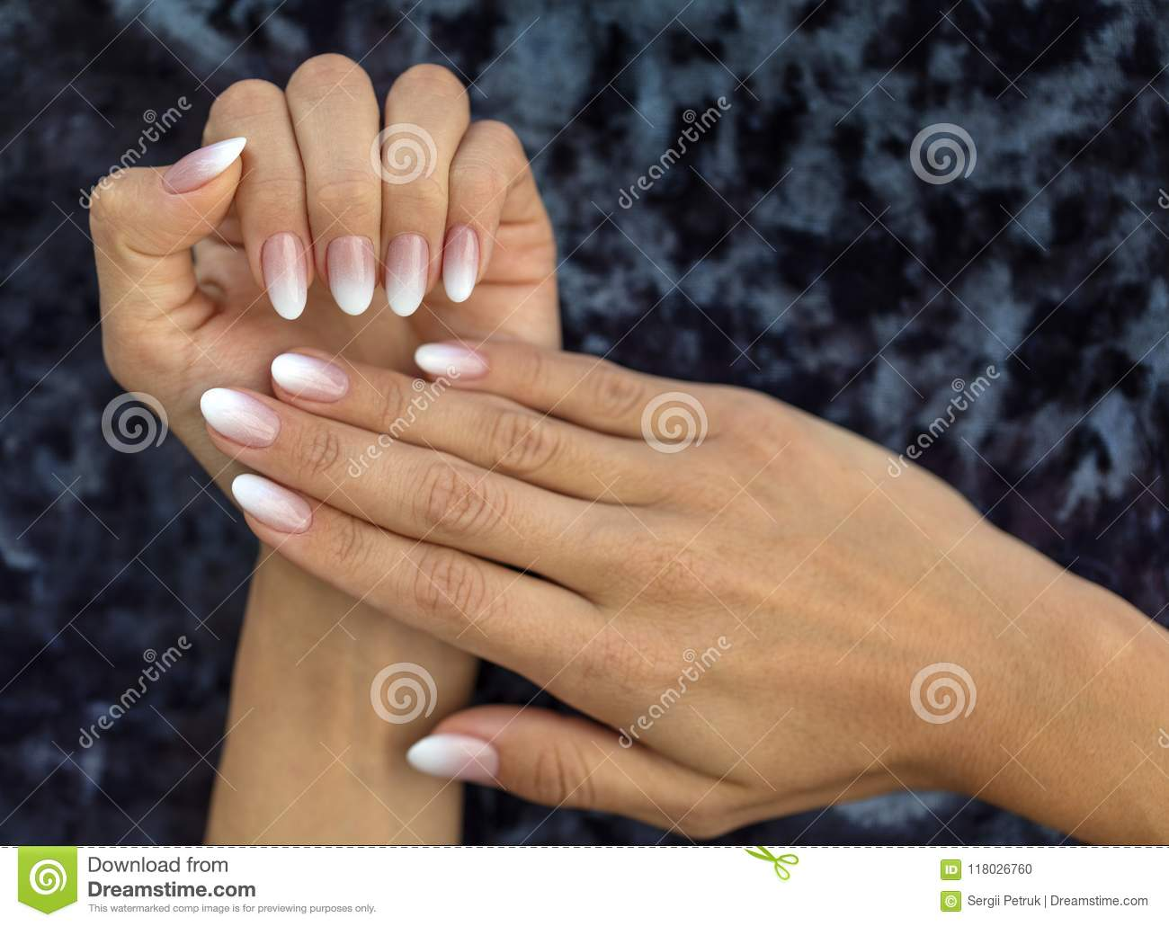 Manicure Design French Ombre Peach And White Stock Photo Image