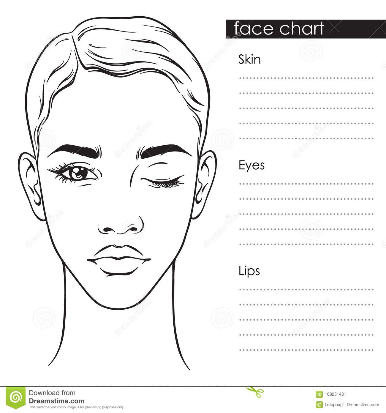 Beautiful Woman With Short Haircut And One Eye Closed Portrait Face Chart Makeup Artist Blank