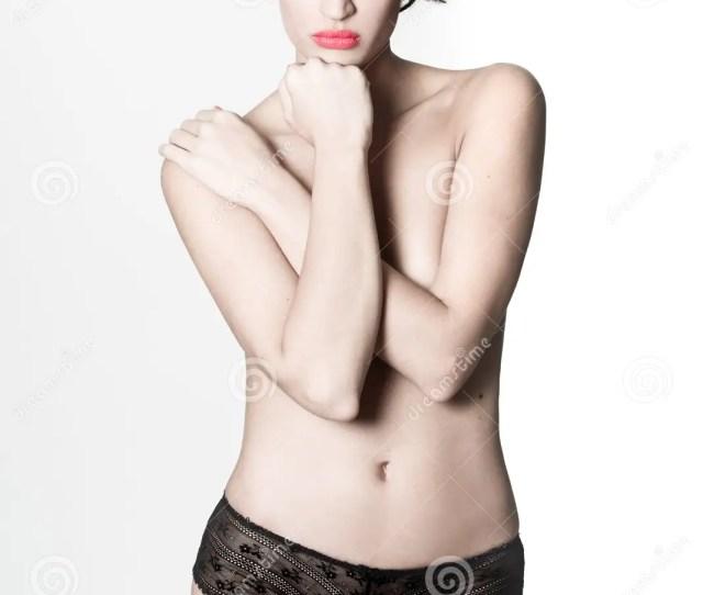 Beautiful Woman Wearing Only Black Panties On White Background