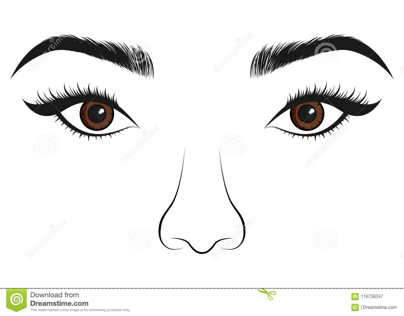 Person With Eye And Nose Vector Illustration