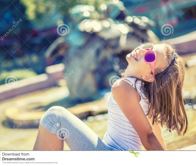 Stock Photo Beautiful Young Girl Teen Outdoor Happy Pre Teen Girl With Braces And Glasses Summer Hot Day