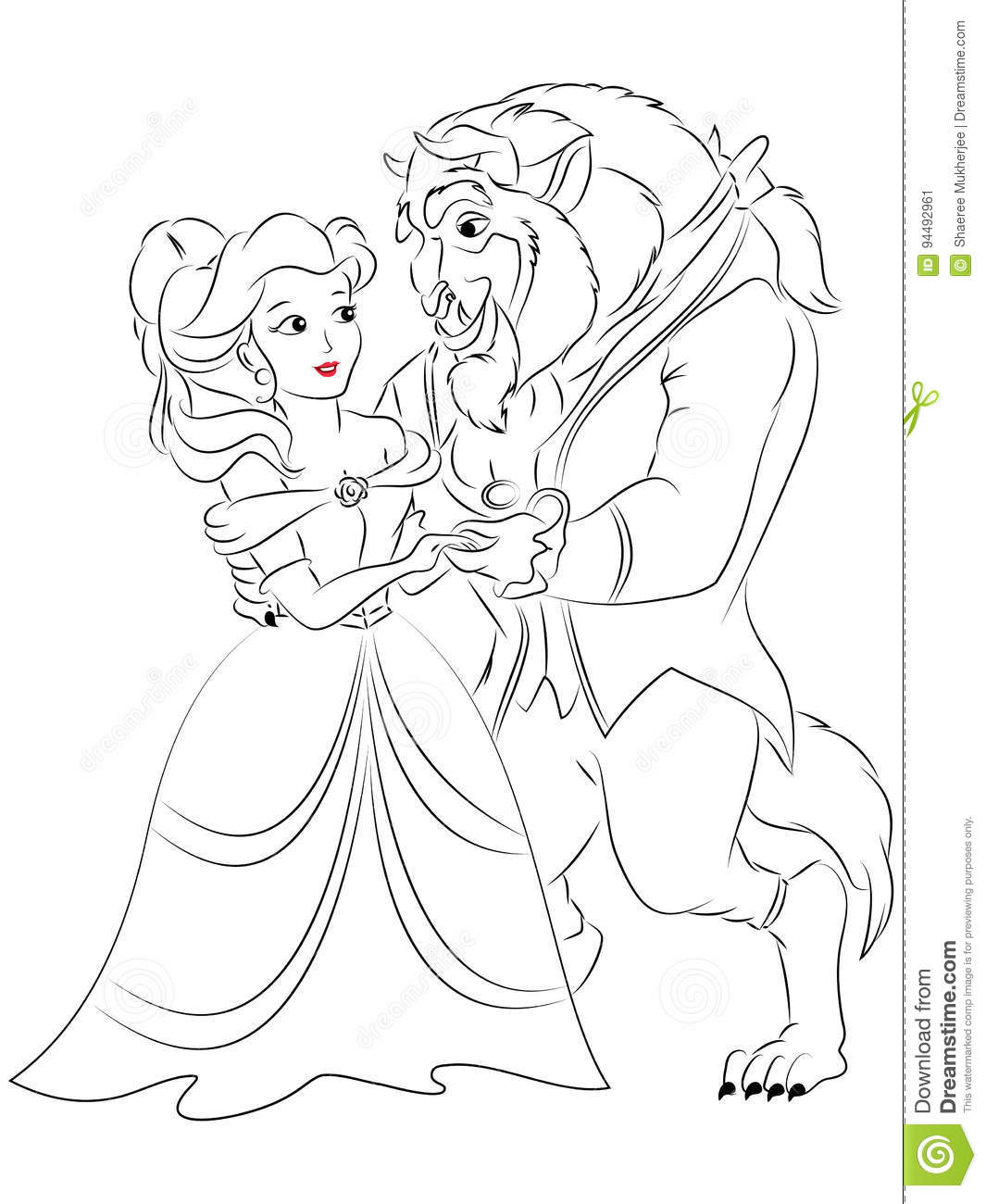 Beauty And The Beast Coloring Page Stock Illustration