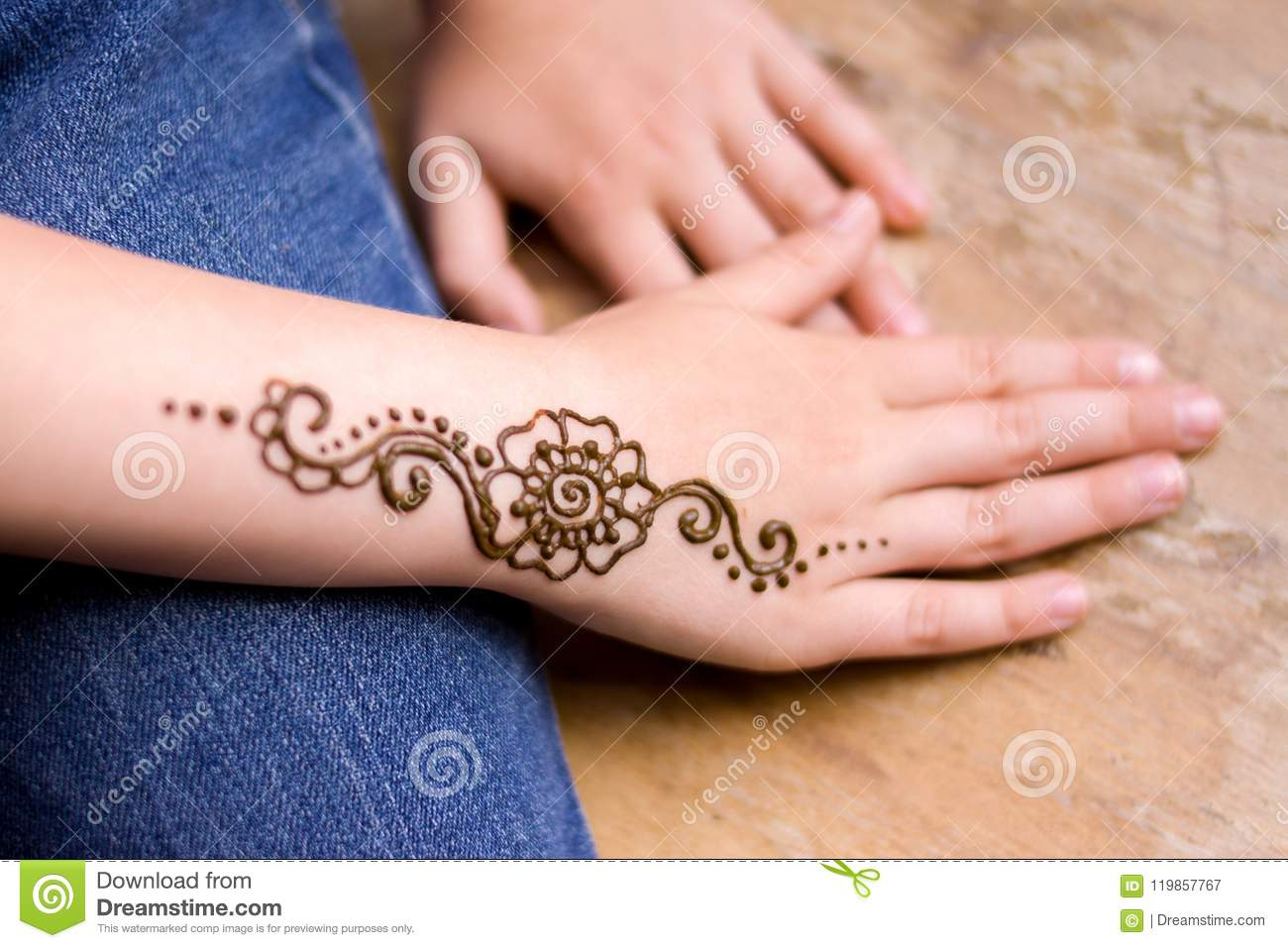 88addefb593ca Henna Tattoo On Small Girl Hand Mehndi Is Traditional Indian