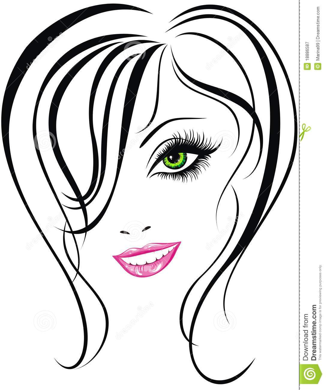 Beauty Girl Face Vector Illustration Stock Vector