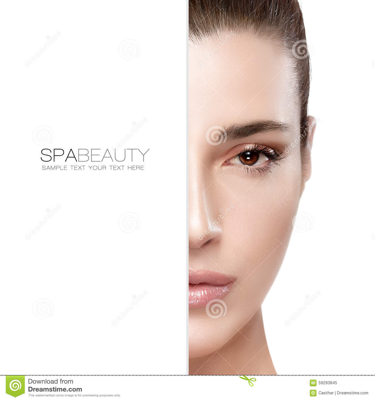 Beauty And Skincare Concept Half Face Portrait Stock