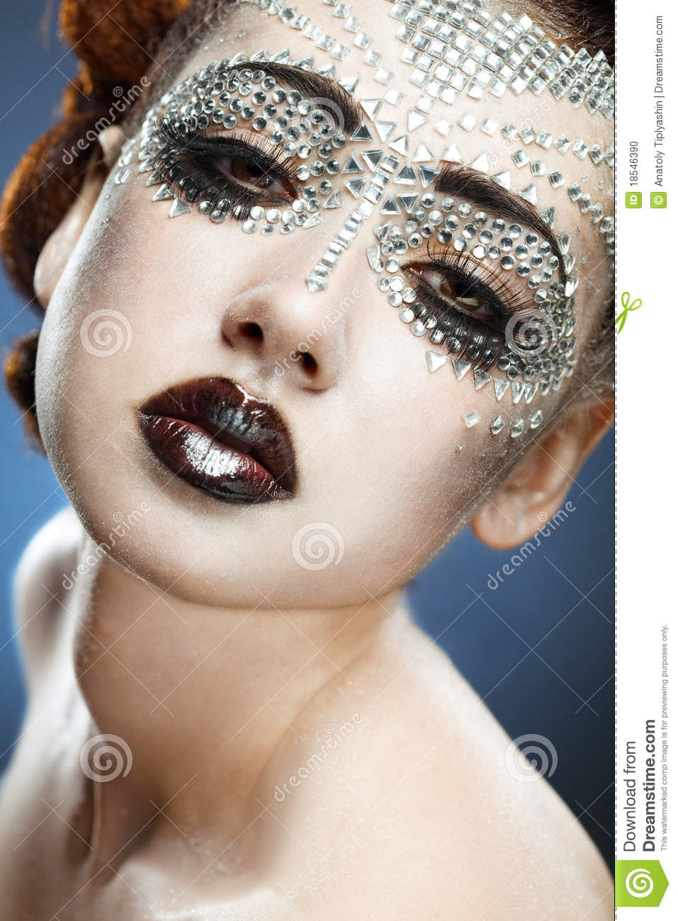 Beauty Woman Makeup With Crystals On Face Stock Photo