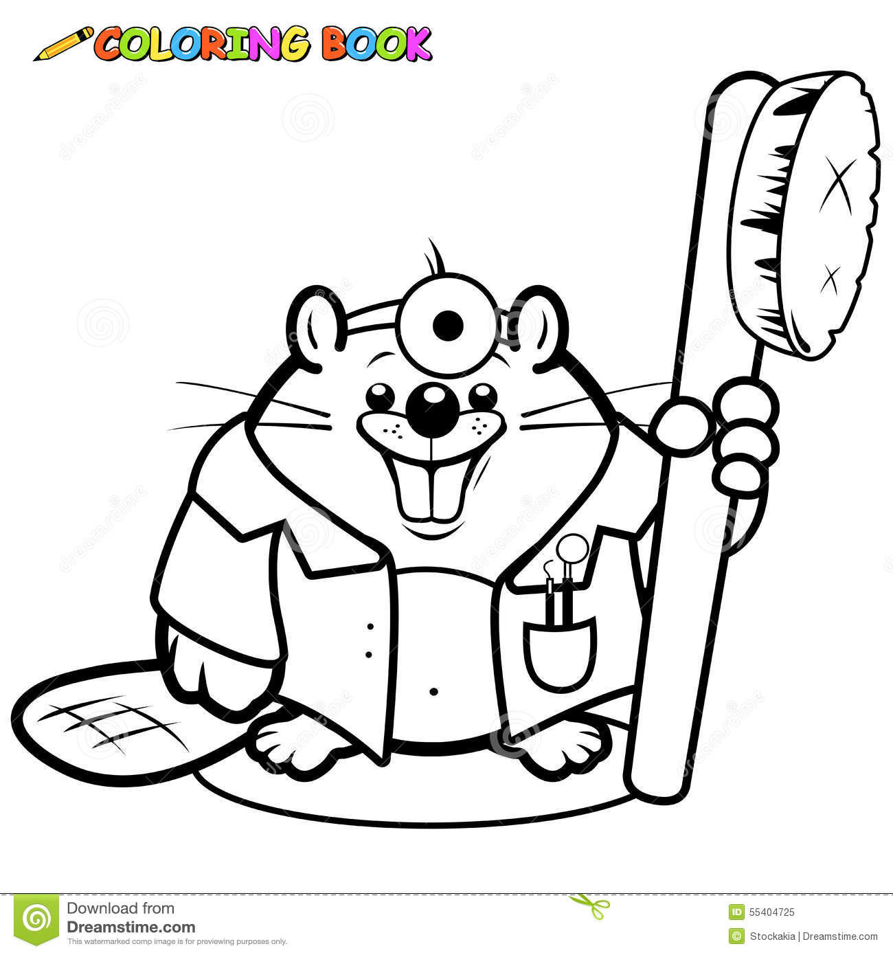Beaver Dentist Holding A Toothbrush Coloring Page Stock
