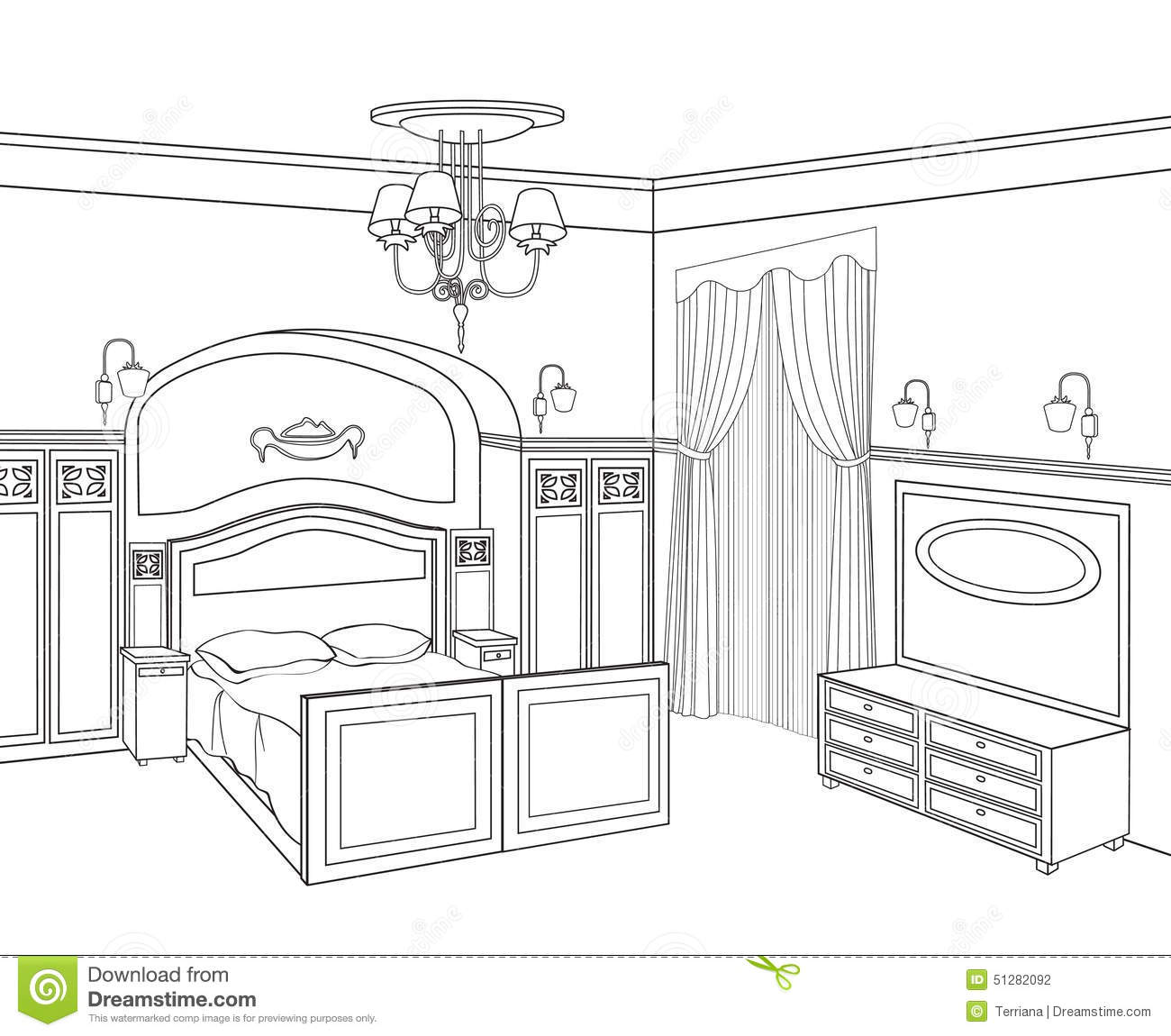 Bedroom Furniture Retro Style Bed Room Stock