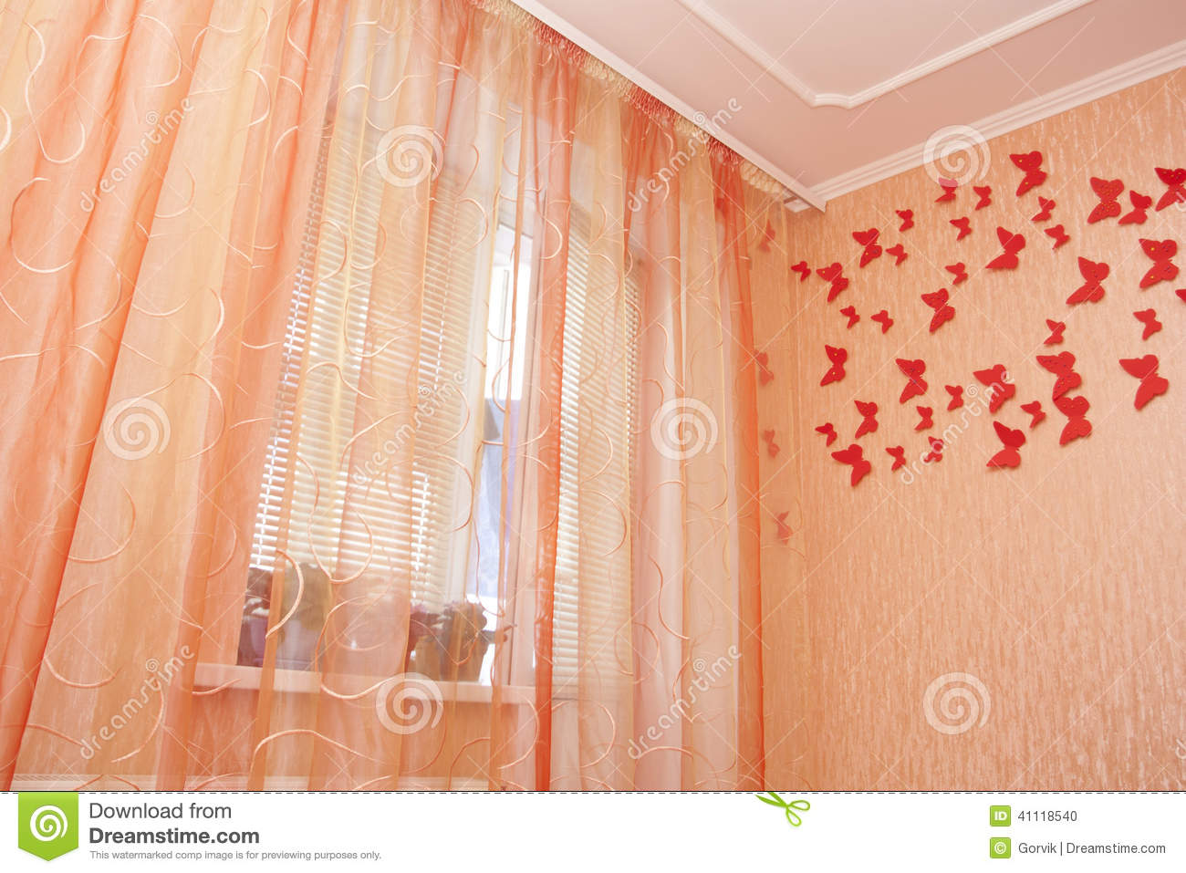 bedroom interior with curtains stock photo image of interior cosiness 41118540