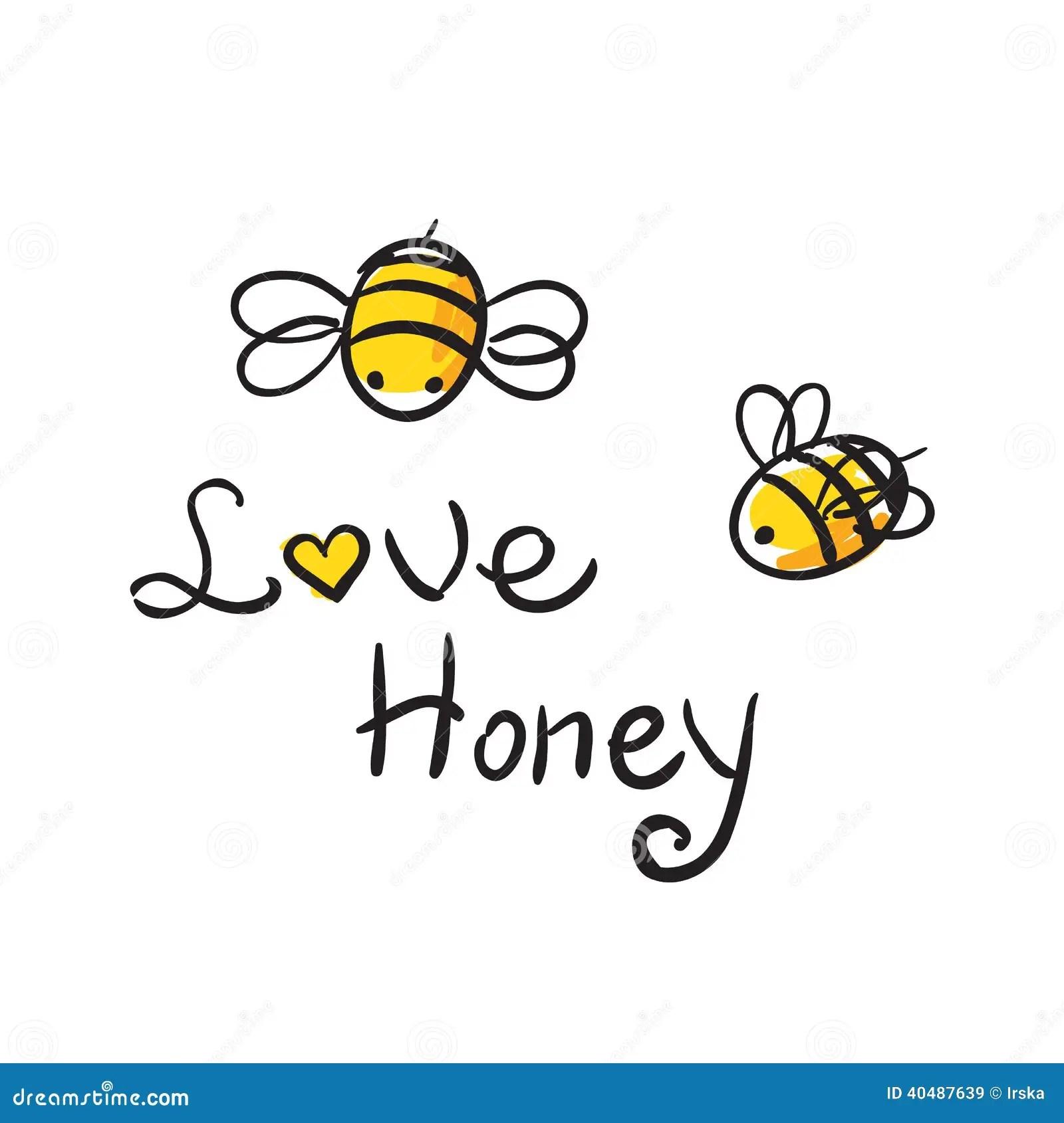 Bee Love Honey Stock Vector Illustration Of Cheerful