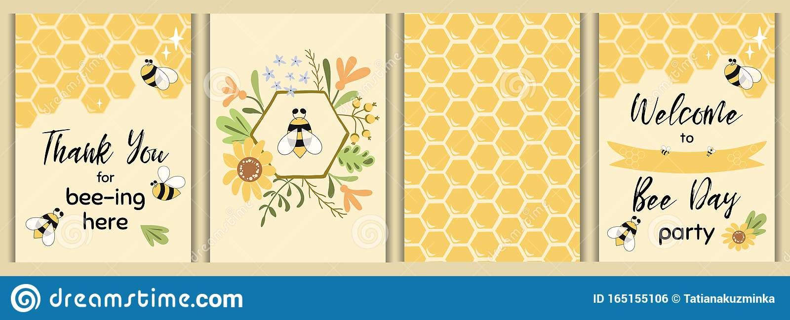https www dreamstime com bee party template set baby shower invitations cute kids event sweet honey flowers vector elements day card templates birthday image165155106