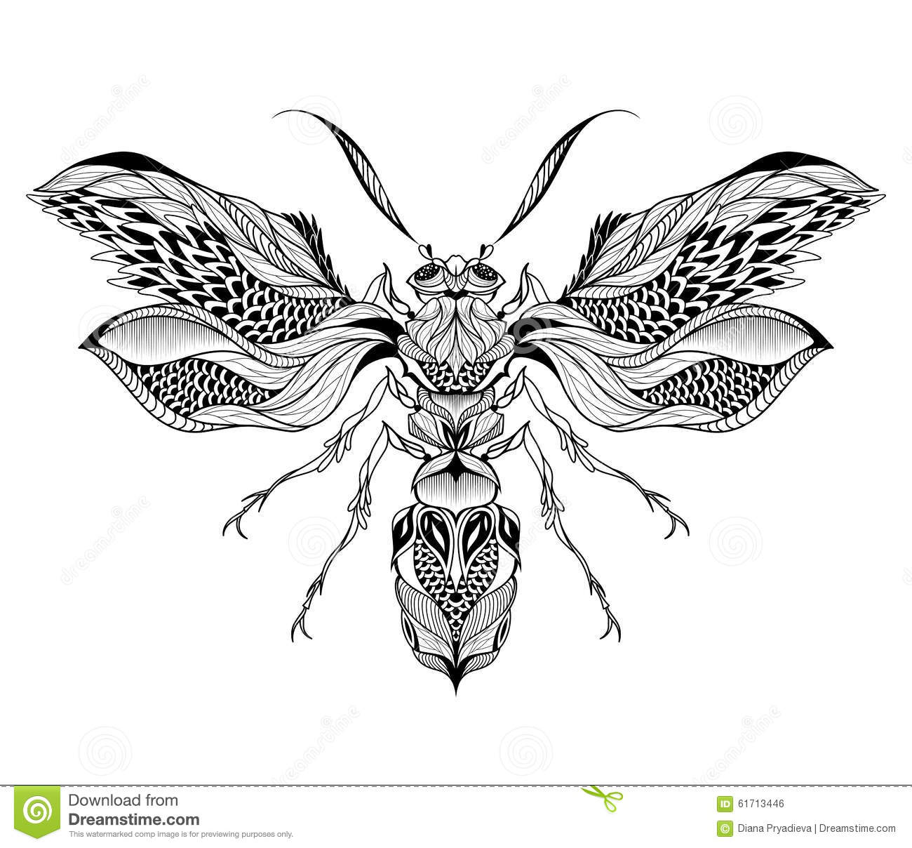 Bee Wasp Tattoo Psychedelic Zentangle Style Stock