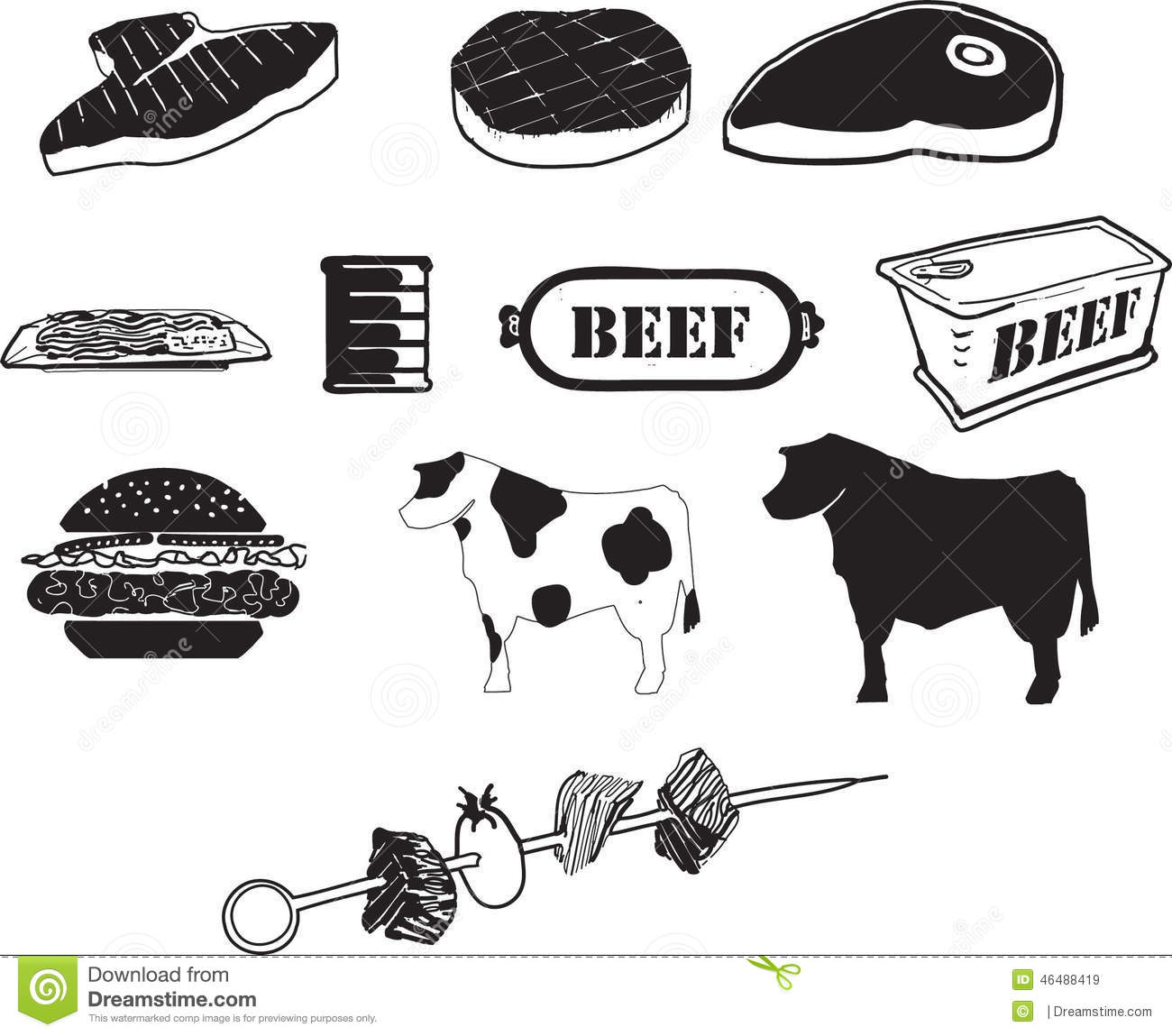 Beef B W Icons Stock Vector Image Of Menu Clipart Beef