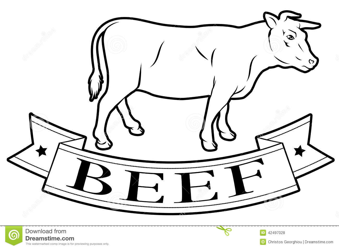 Beef Food Label Stock Vector