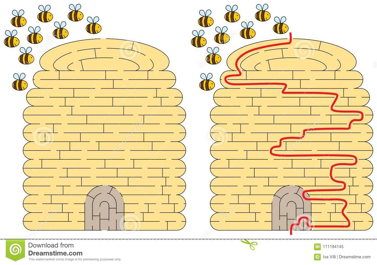 Beehive Maze Stock Vector Illustration Of Flying