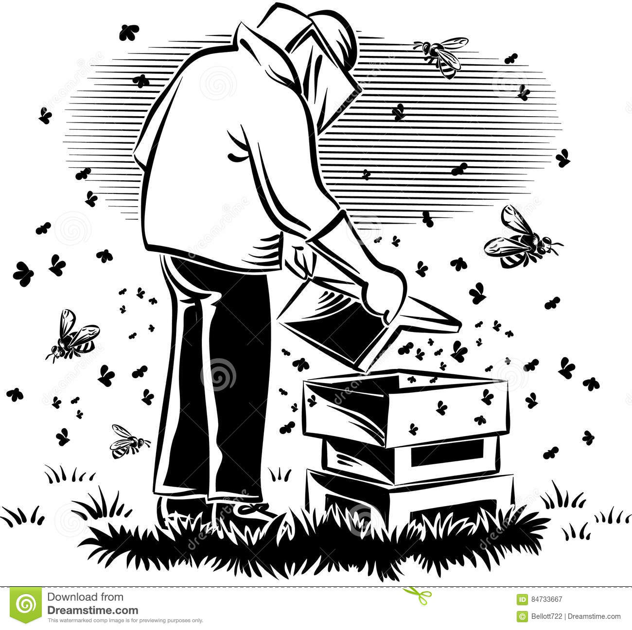 Beekeeper Takes Care Of His Hive Stock Illustration