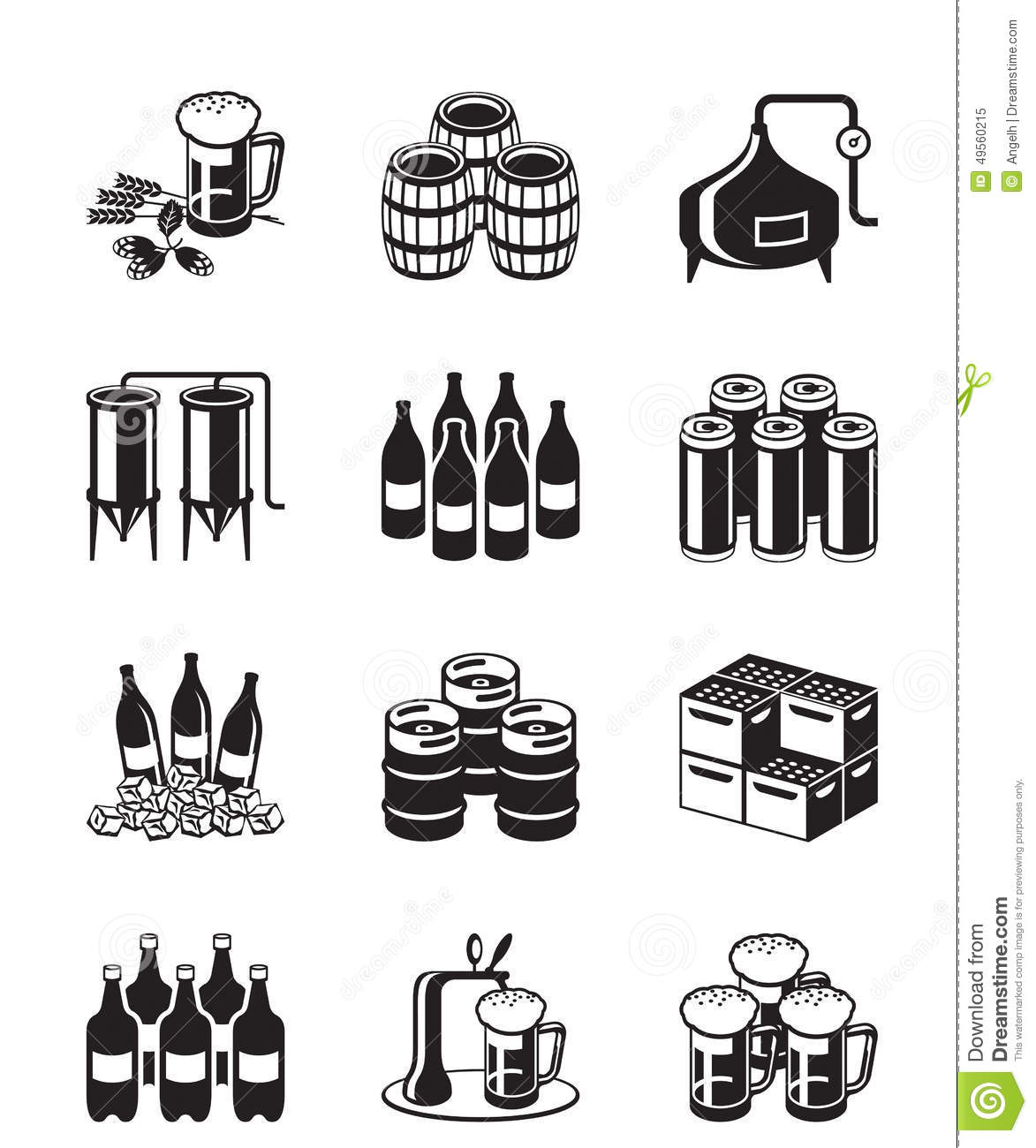 Beer And Brewery Icon Set Stock Vector