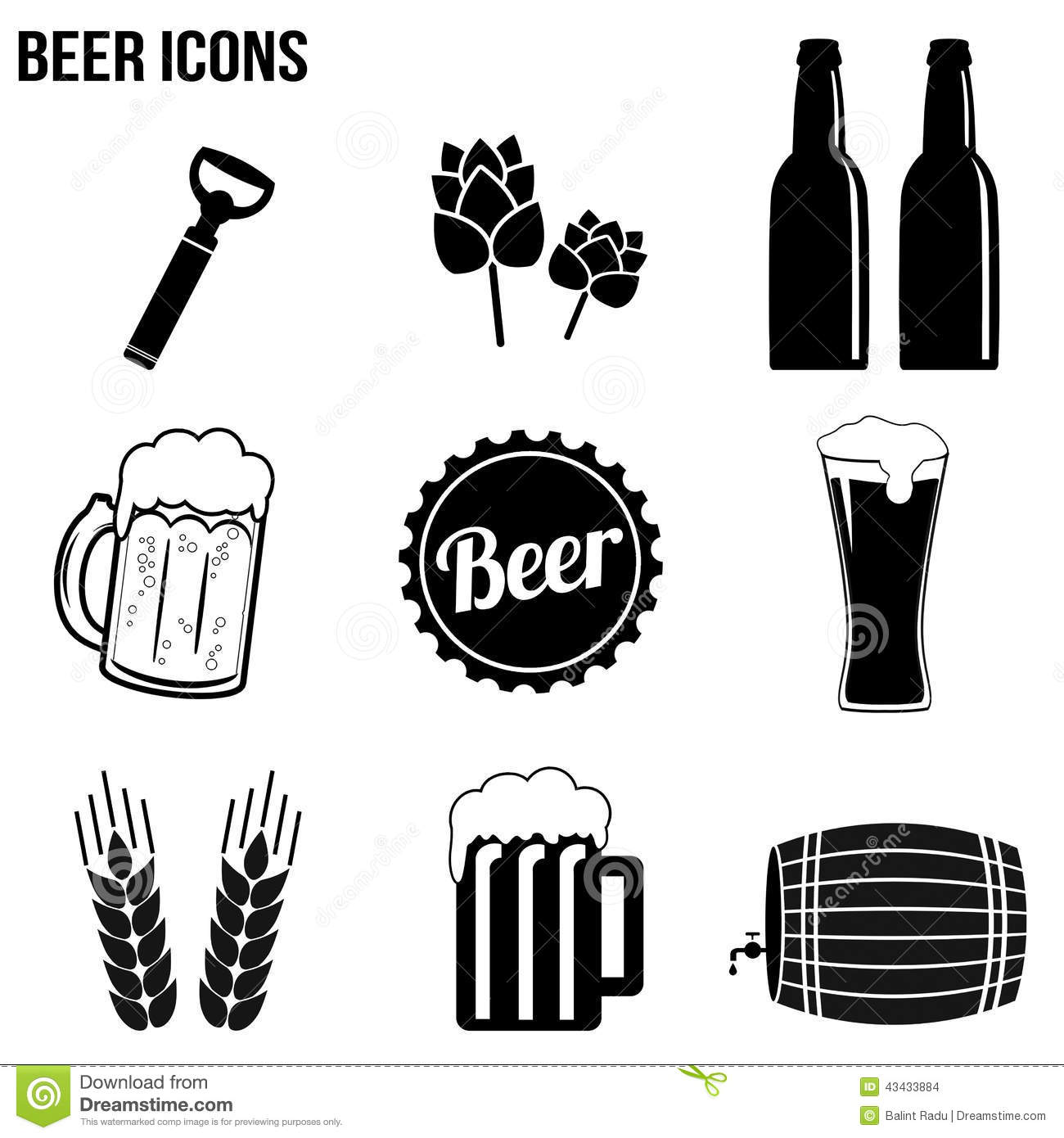 Beer Icons Set Stock Vector Illustration Of Black