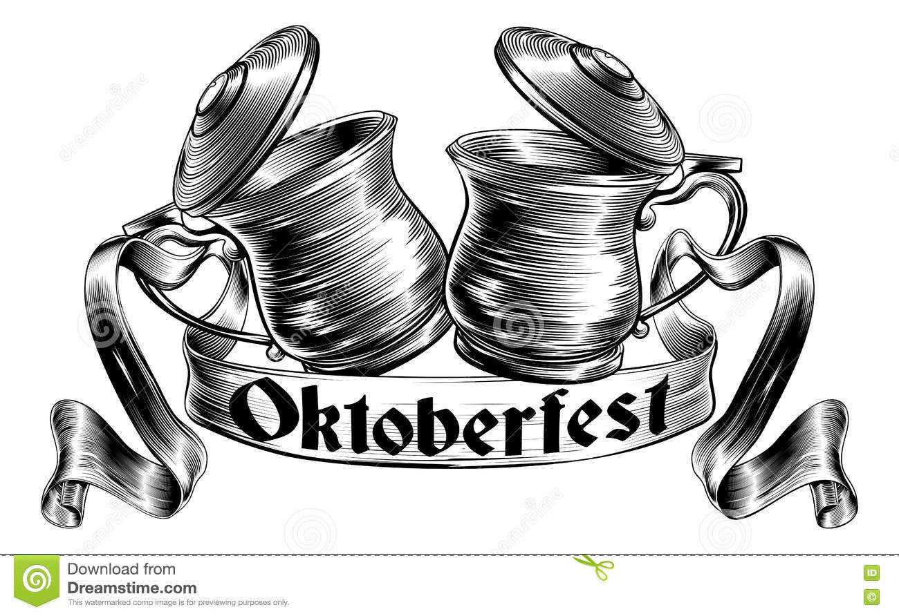 Beer Stein Tankard Toast Oktoberfest Concept Cartoon