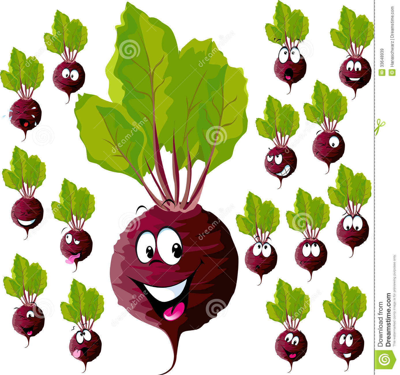 Beetroot With Many Expressions Royalty Free Stock Images