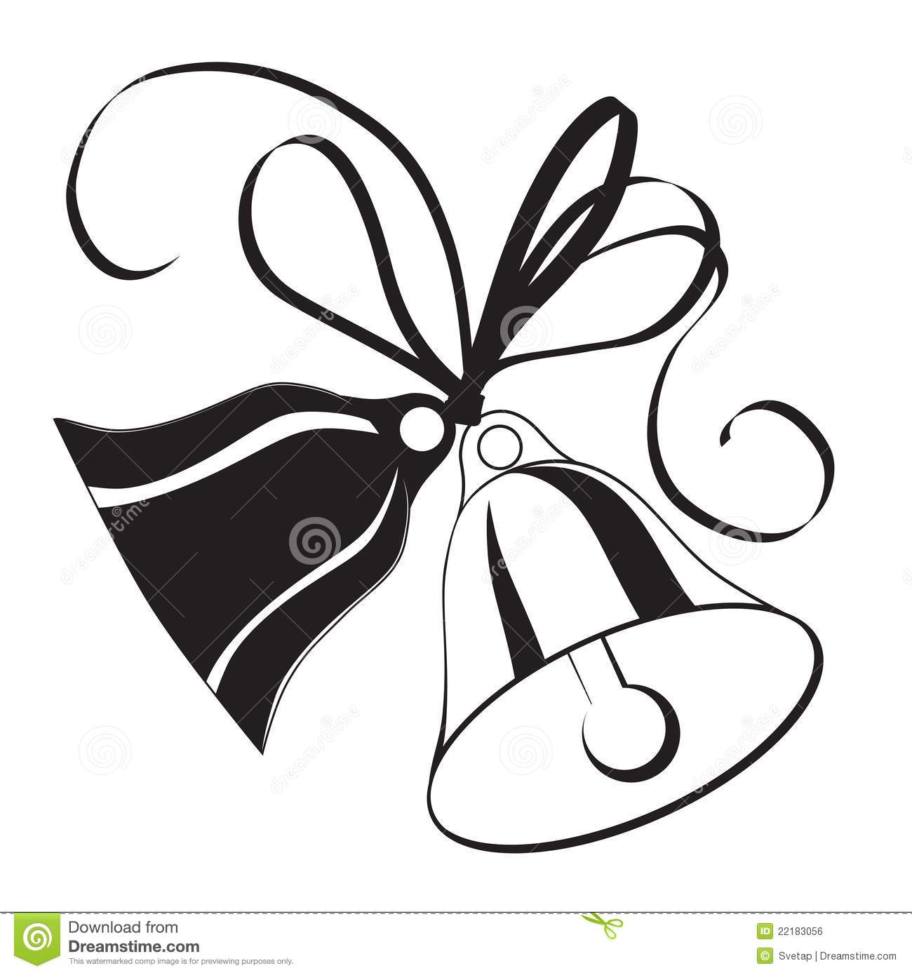 Bell Sketch For Christmas Or Wedding With Bow Stock Vector
