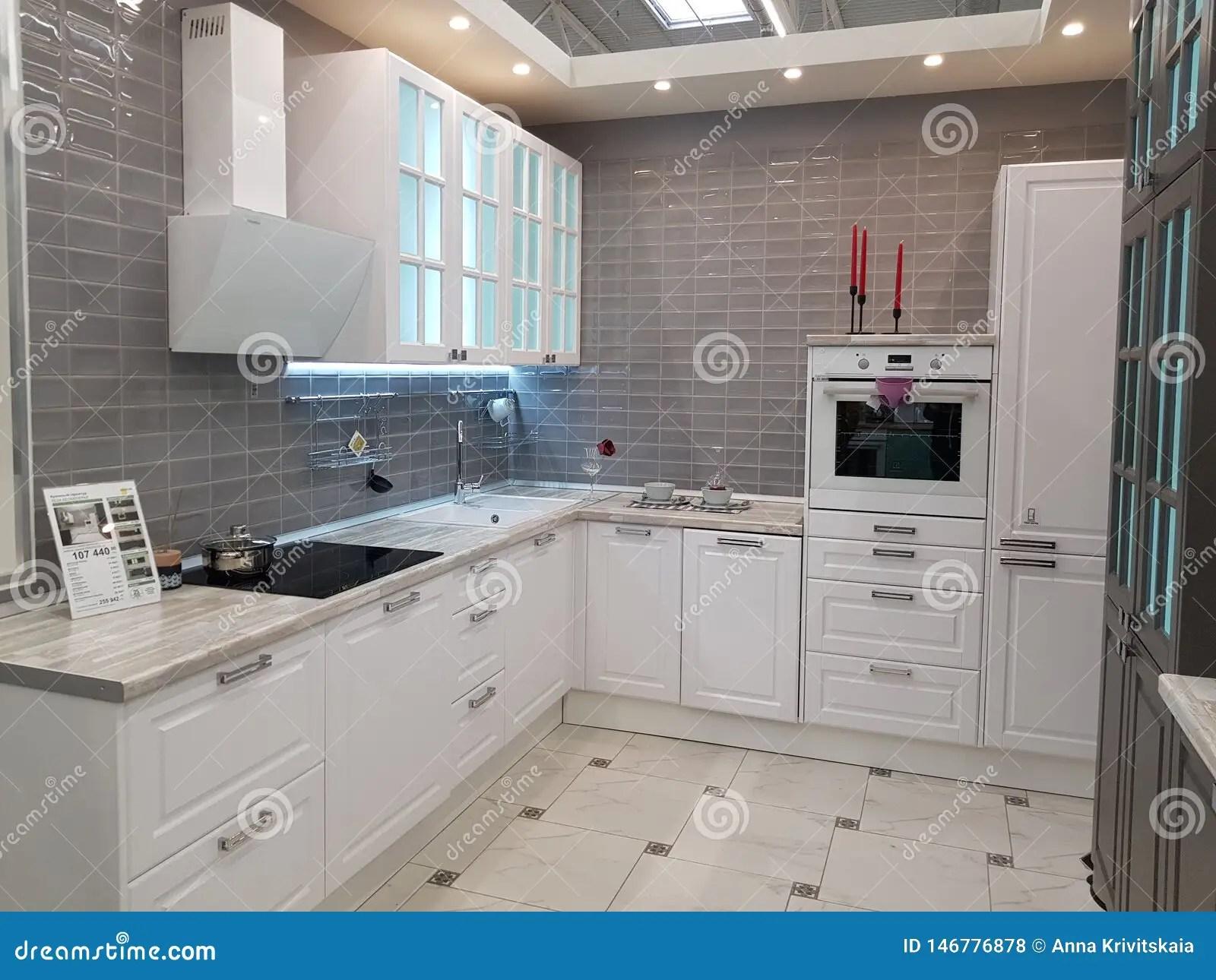 https fr dreamstime com belles cuisines modernes magasin meubles russie st petersburg image146776878