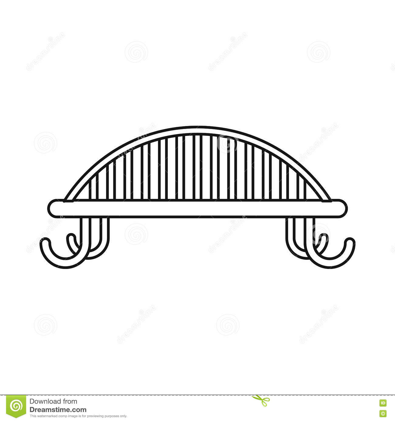 Bench With Backrest Pattern Simple Style Vector