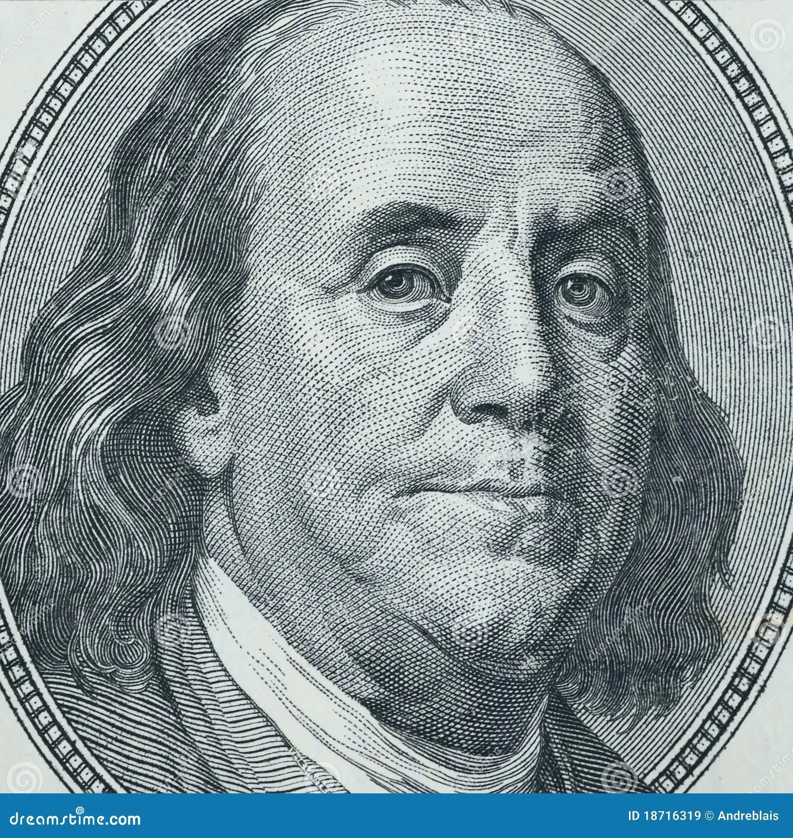 Benjamin Franklin Close Up Stock Afbeelding Afbeelding