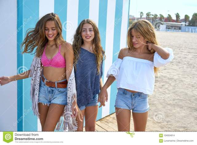 Best Friends Teen Girls Group Happy In A Summer Blue Stripes Background