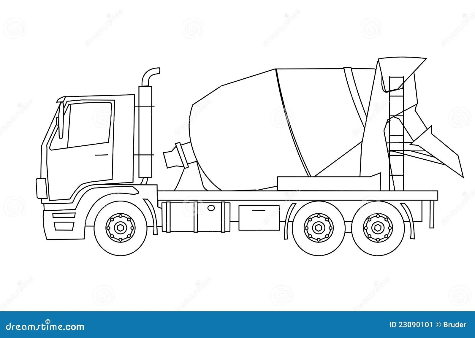 Betonmischer Lkw Vektor Abbildung Illustration Von Schwer