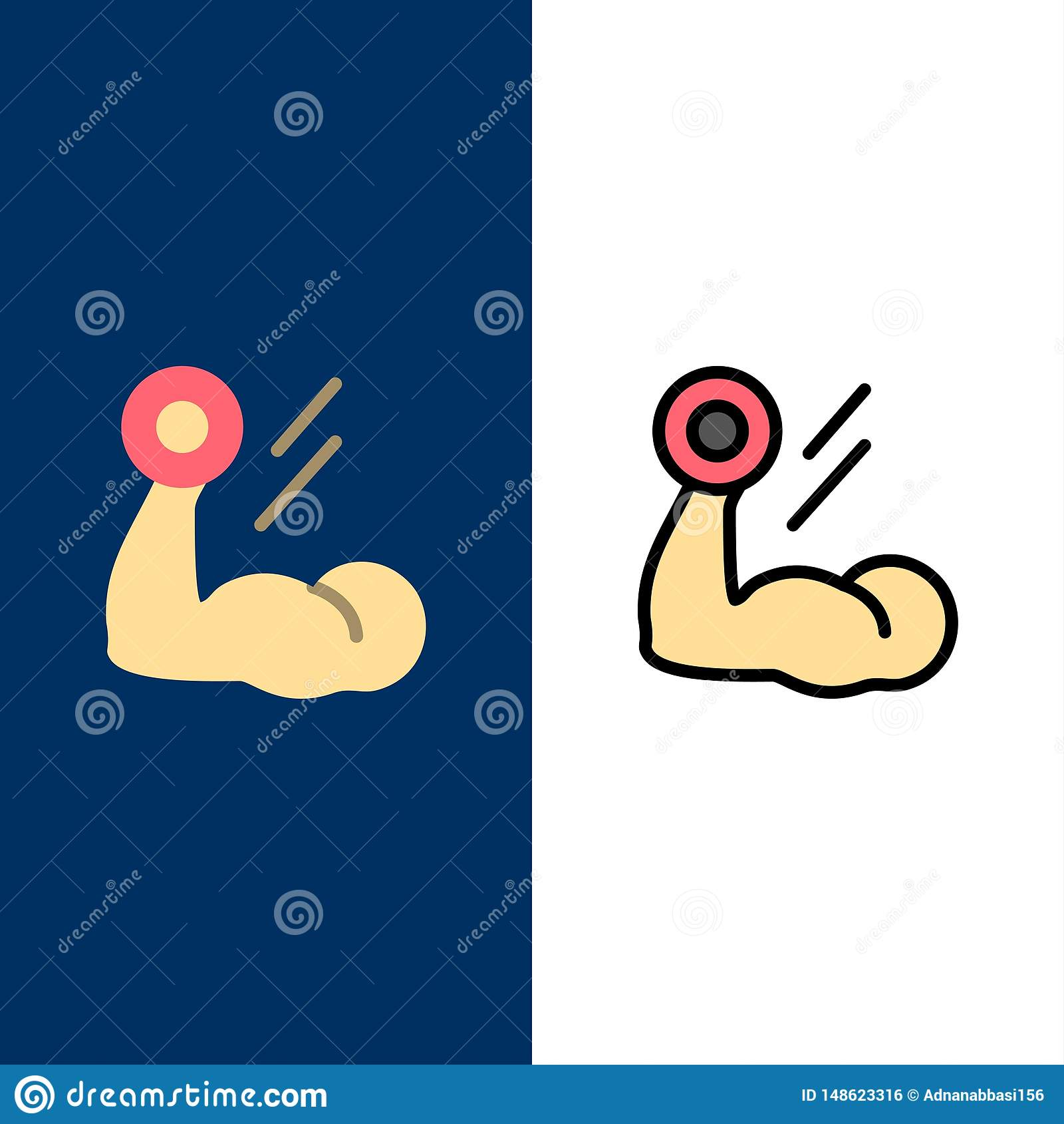 Biceps Bodybuilding Growth Muscle Workout Icons Flat