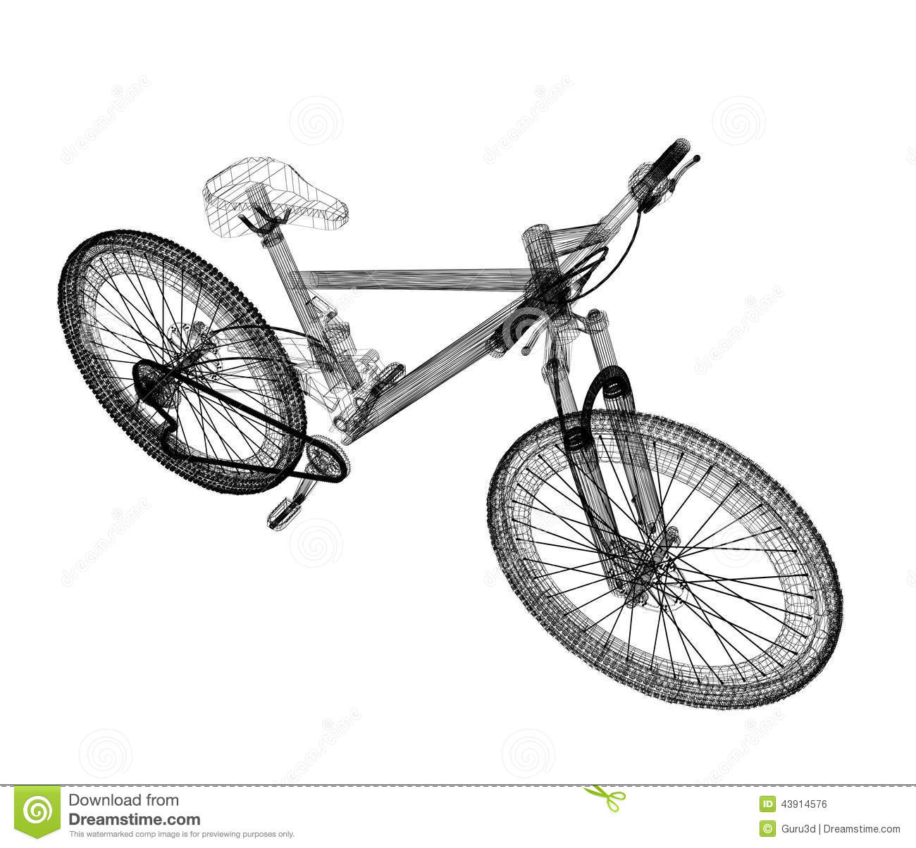 Bicycle As A 3d Wire Frame Stock Illustration