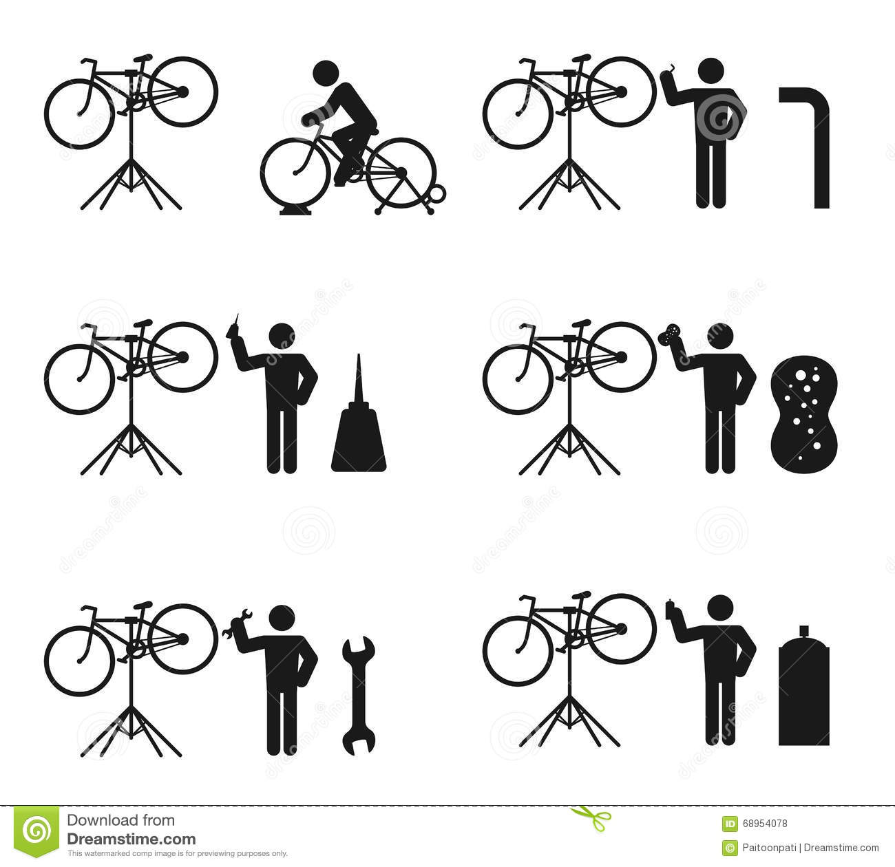 Bicycle Man And Stand Holder Service Repair Icon Set Stock