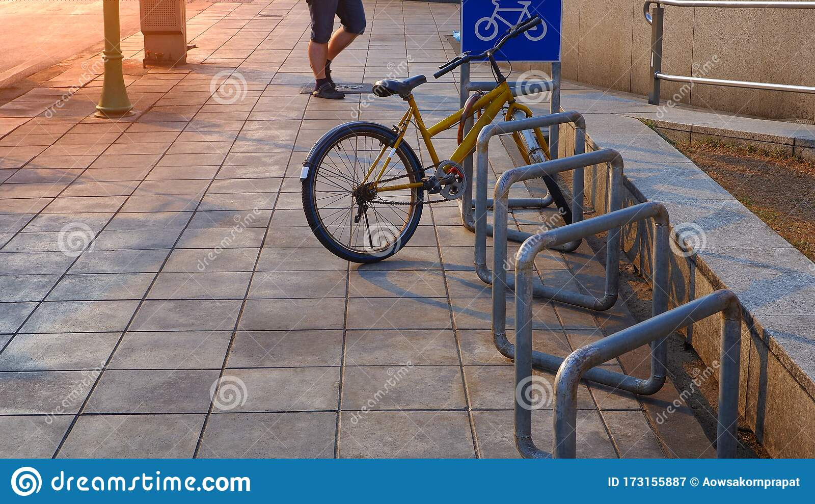 https www dreamstime com bicycle parked row stand bike parking rack selective focus old bicycle parked row stand bike parking rack image173155887