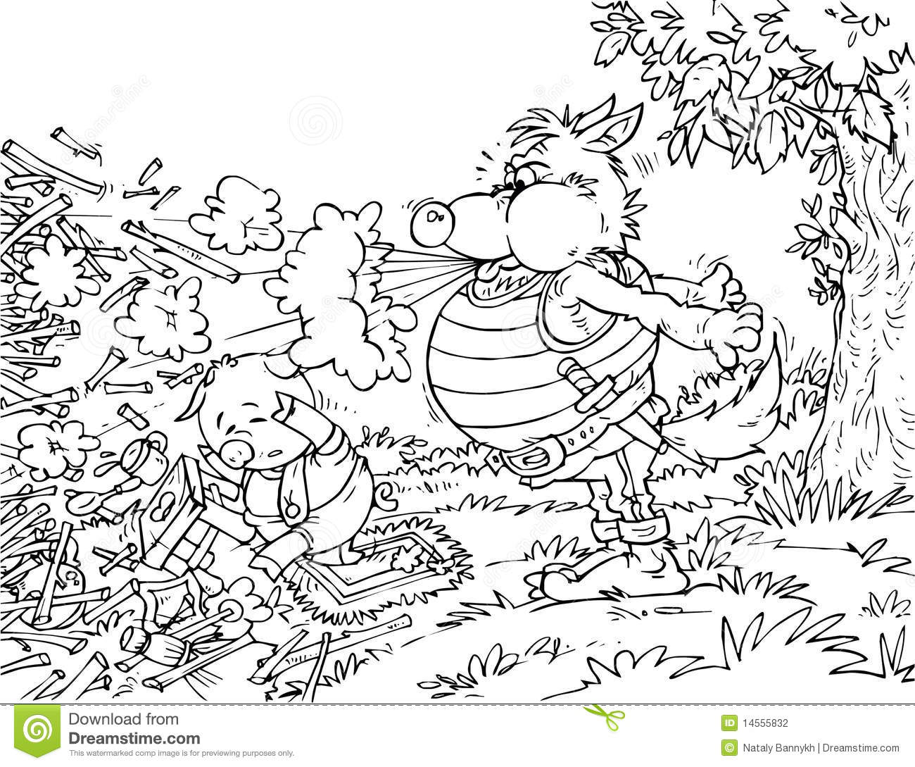Big Bad Wolf And Little Pig Stock Illustration
