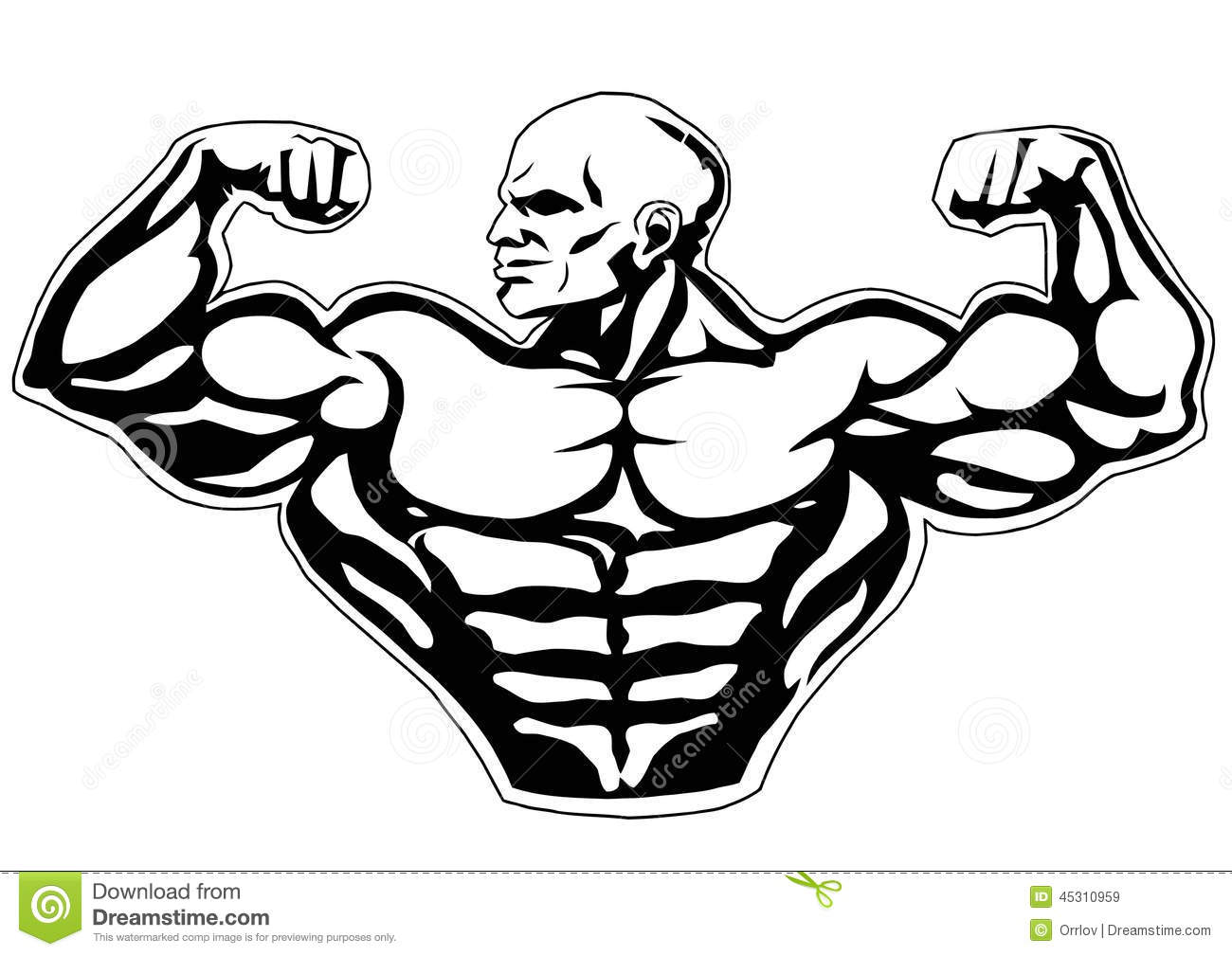 Big Biceps Stock Vector Image Of Heavy Fitness Outline