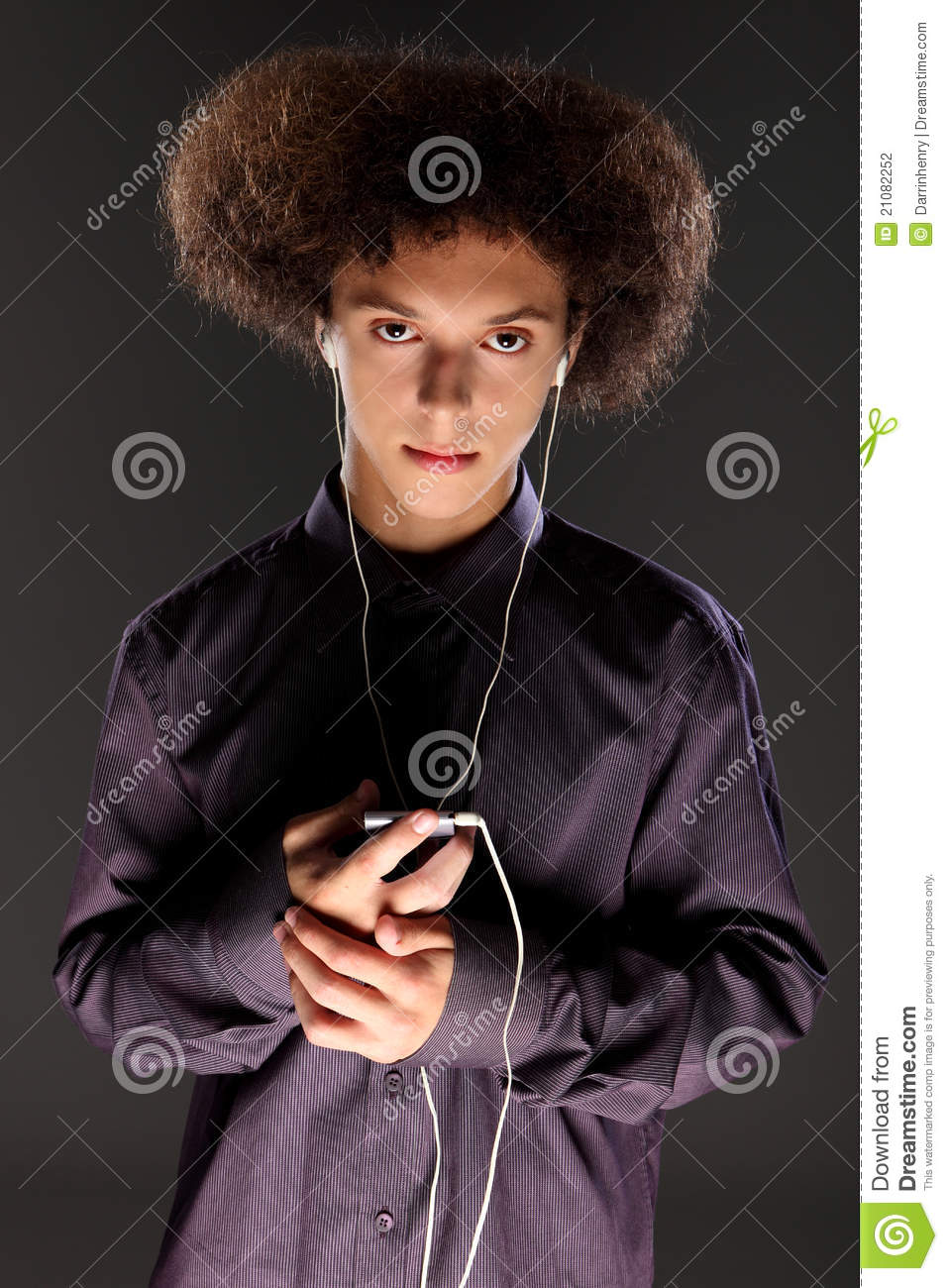 Big Bushy Afro Hair Teenager Listening To Music Stock