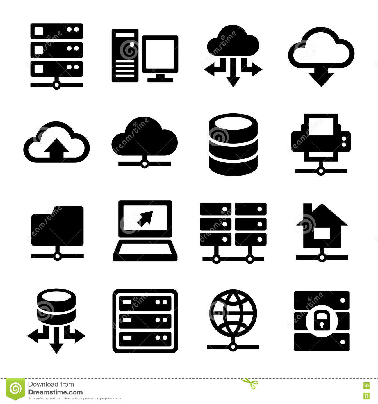 Big Data Center And Server Icons Set Vector Stock Vector